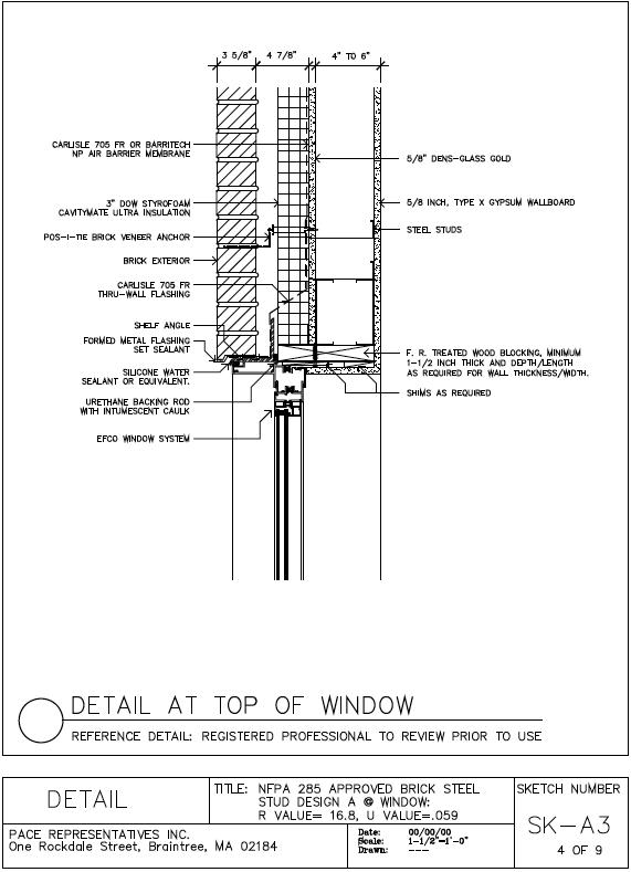 Brick Veneer Window Head Detail Metal Stud Wall