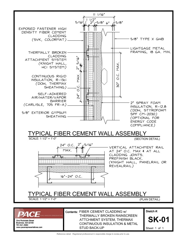 Fiber Cement Cladding With Thermax Continuous Insulation Metal Stud Backup Pace Representatives